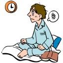 睡眠サイクルが乱れている男性のイラスト│トリプトファンから作られるセロトニンは脳の松果体でメラトニンに変換され体内時計の調整を行う