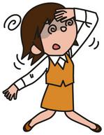 めまいを起こしている女性のイラスト│リジンが不足すると集中力が低下したり、目の充血、めまいや吐き気、貧血などの症状が現れる