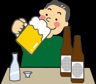 ビールを飲む男性のイラスト│大酒飲みの人が膀胱結石になりやすいのもシスチンの過剰摂取が原因といえます