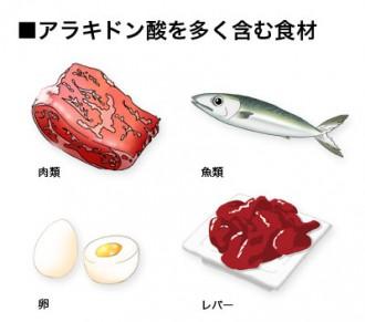 アラキドン酸を多く含む食品図