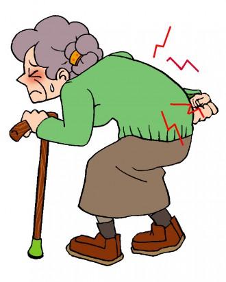 加齢とともにコンドロイチンが減少し腰痛に悩むお年寄りの図