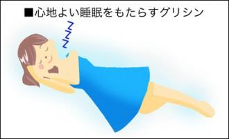 安眠中の女性のイラスト│ミドリムシ(ユーグレナ)に含まれるグリシンは安眠をもたらす効果が期待できる