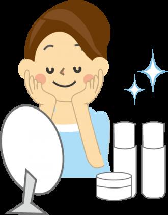 保水・湿潤・弾力を与えられ美容・健康増進効果を実感する女性の図