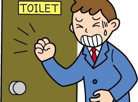 インフルエンザや食べ過ぎなどが原因で下痢になった男性のイラスト