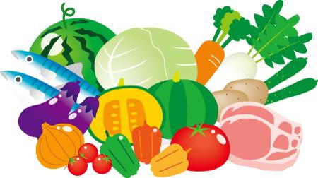 新鮮な野菜や肉や魚のイラスト