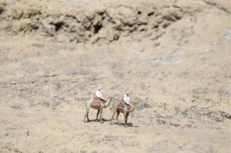 ラクダに乗り砂漠を巡る人の画像