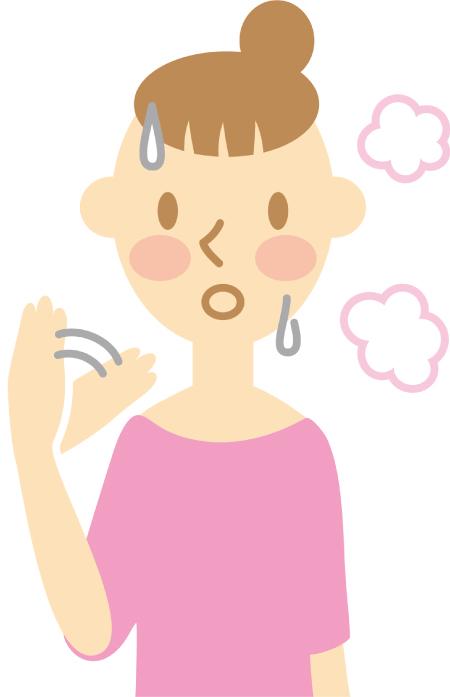 更年期障害で自律神経の調節が上手くいかない女性のイラスト