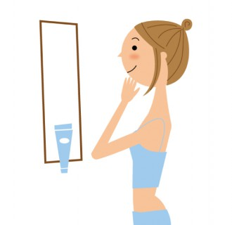 化粧をする女性のイラスト│ミドリムシ(ユーグレナ)に含まれ、美肌・老化防止成分と呼ばれる「パルミトレイン酸」とは?