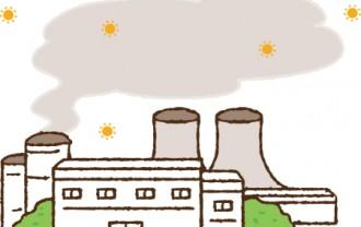 工場の煙突から有害物質を出しているイラスト