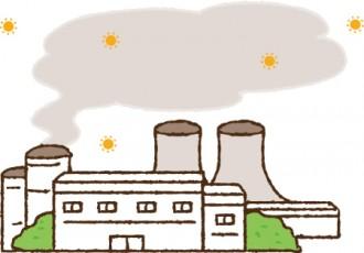 工場の煙突から有害物質を出しているイラスト│ミドリムシ(ユーグレナ)の放射能に対する効果とは?