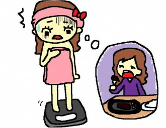体重計に乗ってショックを受ける女性のイラスト│リバウンドが起こるしくみとは?