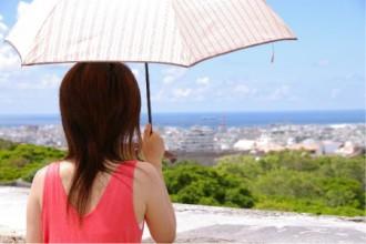 日傘をさす女性の画像