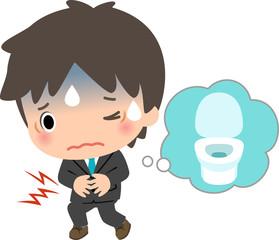 腹痛中の男性のイラスト│ユーグレナ(ミドリムシ)は過剰摂取すると下痢や腹痛が起こる可能性があります
