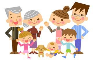 元気な家族の集合イラスト│家計のためにも、家族のためにもミドリムシエメラルドの「定期お届けコース」がおすすめ