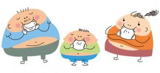おにぎりを頬張るメタボ気味の親子のイラスト│ミドリムシはあくまでも健康補助サプリであって決して「痩せ薬」ではない